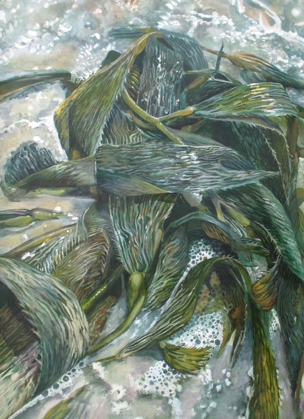 "In Each Leaf Were Glimmering Rivers, acrylic on paper 35 3/4""x51 3/4"" 2010"