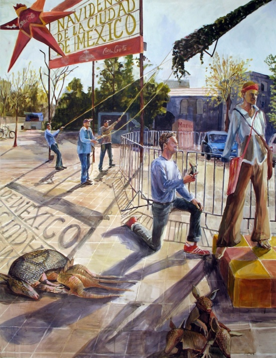 """The Rejection of My Post-Christmas Armadillo Offering, acrylic on paper, 52""""x66"""", 2006"""