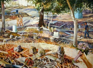 "Cemetery Jog, acrylic on paper, 52""x66"", 2006"