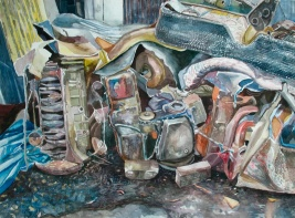 """A Cold Feast of Engine Entrails, watercolor on paper, 18""""x24"""", 2006"""