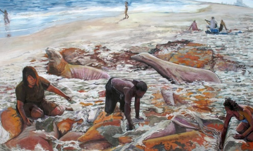 "Day Three of Our Intra-Mammal Bonding Retreat, acrylic on panel, 36""x60"", 2008"