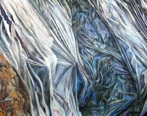"A Sweaty Blanket for Our Dirt Mound, colored pencil on paper, 32""x40"" 2009"