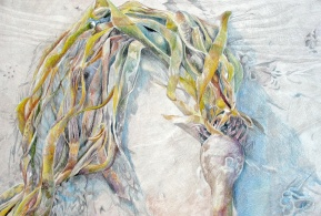 """Mermaid Weave, colored pencil on paper, 22""""x15"""" 2009"""