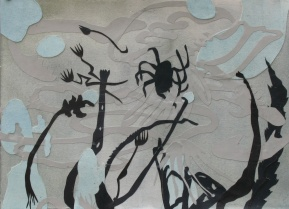 """As Gray MIlk Swirled My Experiment, Cut paper, watercolor and acrylic, 15""""x11"""", 2009"""