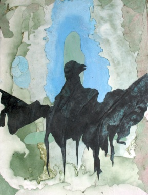 """As The Sludge-Dove Re-emerges, Cut paper, watercolor and acrylic, 15""""x11"""", 2009"""