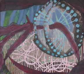 "As Our Muscle Tissue Cycles Through The Nutrition Rings, cut paper and acrylic on panel, 8"" x 9"" 2011 (SOLD)"