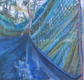 "As the Winds Thinned Our Tarp to Gossamer, acrylic on panel, 24""x24"" 2011"