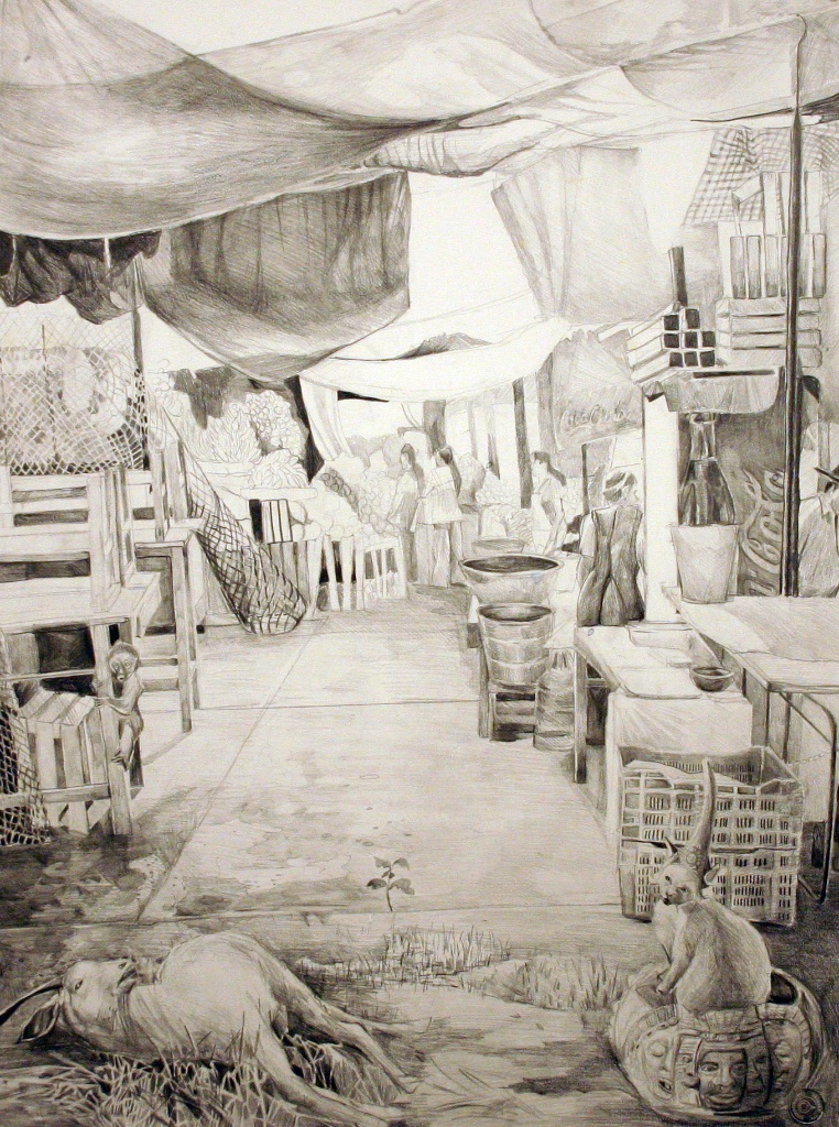 """Study for The Uncanny Marketplace, acrylic on paper, 52""""x66"""" 2005"""