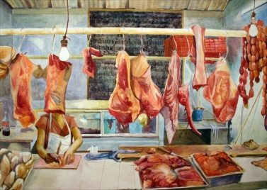 """Mystery on the Meat Rack, acrylic on paper, 52""""x66"""", 2006"""