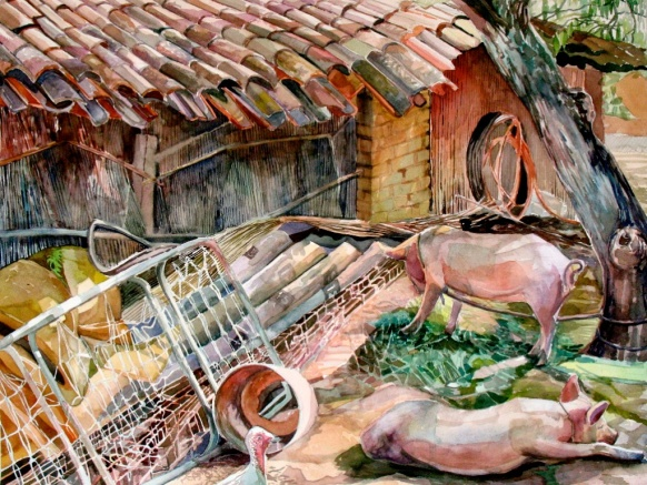 "Pigs Waking Up From A Shared Dream, watercolor on paper, 26""x40"" 2007"