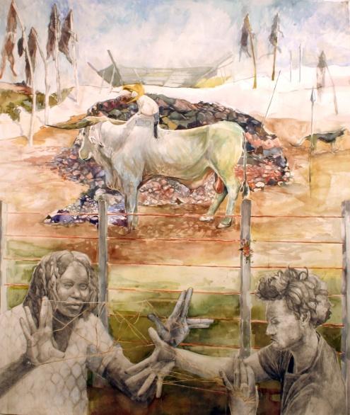"Kiki's Final Sacrifice, acrylic, watercolor and graphite on paper, 52""x60"", 2005"