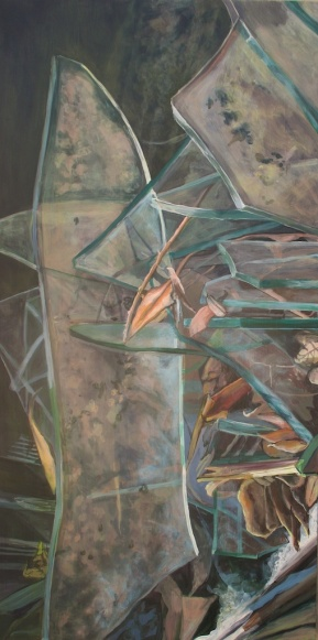 "The Seasons Began to Smudge Away the Viciousness (2 of 3) acrylic on panel, 24""x48"" 2010"