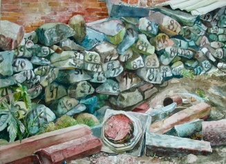 """The One Hundred Year Destruction of the Third Class Cemetery, watercolor on paper, 18""""x24"""", 2006"""