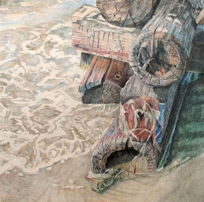 """The Day We Surrendered to the Moisture Damage, colored pencil on paper, 32""""x32"""" 2009"""