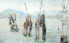 """The Spindly Guardians, colored pencil on paper, 26""""x40"""" 2009"""