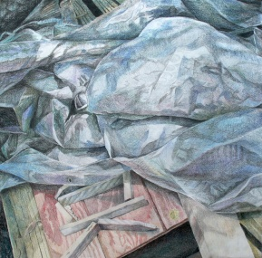 "Don't You Dare Smooth Out My Tarp! colored pencil on paper, 32""x32"" 2009"