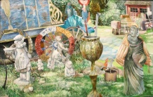 "The Charlatan Abandons Her Caravan of Knick-Knacks, watercolor on paper, 26""x40"" 2007"