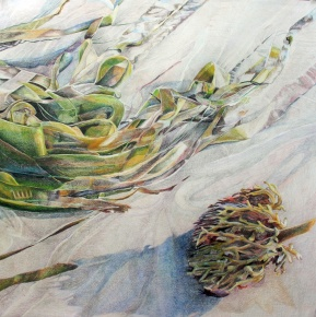 "Tiptoeing Past Ocean Ribbons, colored pencil on paper, 32""x32"" 2009"