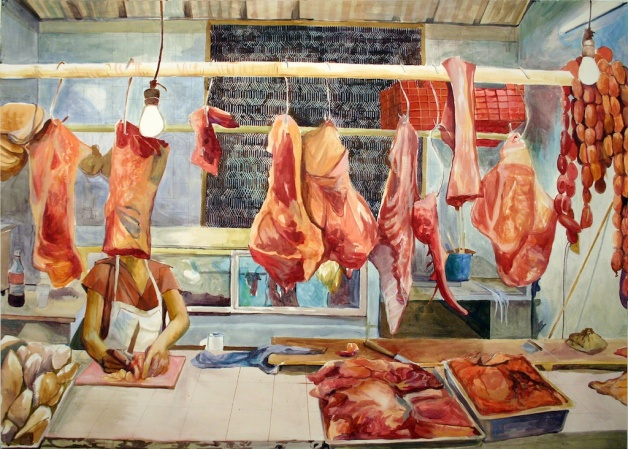 "Mystery on the Meat Rack, acrylic on paper, 52""x66"", 2006"