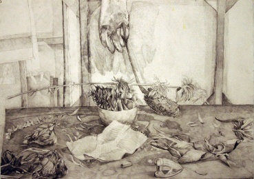 "Altar to My Rubber Glove, graphite on paper, 18""x24"", 2005"