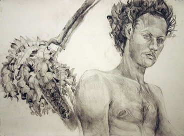 "Self-Portrait with My Favorite Branch, graphite on paper, 18""x24"", 2005"