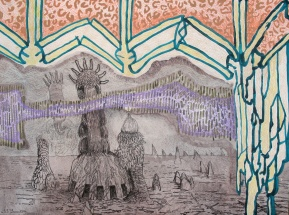 """A Sentient Vapor Arrives, watercolor, colored pencil and marker on paper 16""""x12"""" 2012"""