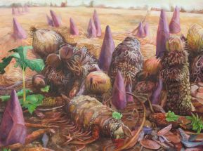 "A New Species is Ready to Dominate the Plain, acrylic on canvas, 36"" x 48"" 2012"