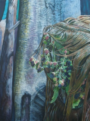 """As the Strands Transform Her, acrylic on canvas, 30"""" x 40"""" 2012"""