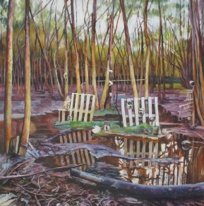 "Galoshing in a Sickly Forest, acrylic on canvas, 36""x36"" 2012"