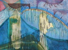 """Managing a Disobedient Armada, watercolor, colored pencil and marker on paper, 16""""x12"""" 2012"""