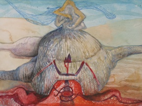 """As Our Internal Heat Reveals Itself, watercolor, colored pencil and marker on paper, 16""""x12"""" 2012"""