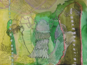 """On the Quest For Latent Plant Thought (STUDY); watercolor, colored pencil and marker on paper, 16""""x12"""" 