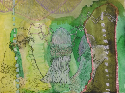 "On the Quest For Latent Plant Thought (STUDY); watercolor, colored pencil and marker on paper, 16""x12"" 