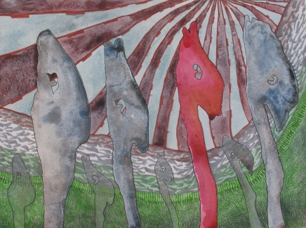 "House of Matter: March of the Vapor Sac; watercolor, colored pencil and marker on paper 16""x12"" 2012"