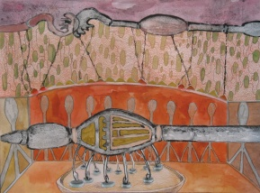 """Our Most Joyous Experiment (STUDY), watercolor, colored pencil and marker on paper 16""""x12"""" 2012"""
