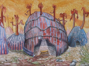 """House of Matter: The Uneven Pulse In Our Homes, watercolor, colored pencil and marker on paper, 16""""x12"""" 2012"""