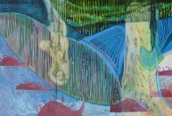 """Managing a Disobedient Armada, cut paper, acrylic marker and colored pencil on 3 panels, 32"""" x 48"""" 2014"""
