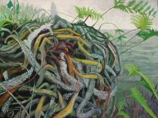 """As Latency Ends, Its Knuckles Untangle Acrylic on canvas 36"""" x 48""""   2014"""