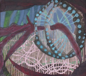 "As Our Muscle Tissue Cycles Through The Nutrition Rings, cut paper and acrylic on panel, 8"" x 9"" SOLD"