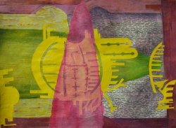 """As the Armada Passed Our Final Inspection, cut paper, acrylic and colored pencil on paper, 22"""" x 30"""" 2013"""