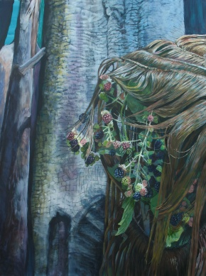 """As the Strands Transform Her, acrylic on canvas, 40"""" x 30""""   2013"""