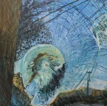 "The Injury Web Grows 1 of 3, acrylic on panel, 48""x48"""