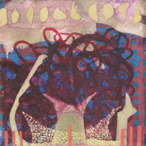"""Unknotting Machine, cut paper, dry pigment, acrylic and colored pencil on wood, 5"""" x 5"""""""