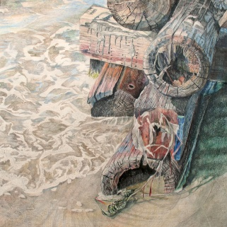 """The Day We Surrendered to the Moisture Damage, colored pencil on paper, 32""""x32"""""""