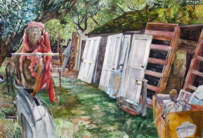 """Jeanette's Failed Exercise Attempt, watercolor on paper 26""""x40"""""""