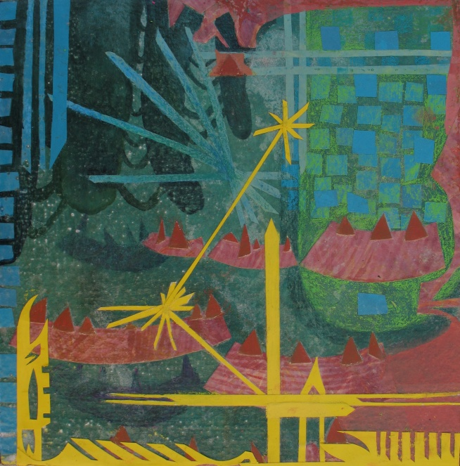 """Paying Homage to Our Stalagmite Preservation Device, cut paper, colored pencil and acrylic on canvas, 13"""" x13"""""""