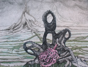 """To Survive in the Swollen Plain (STUDY); brush-tip marker, graphite and colored pencil on paper; 12"""" x 18"""" 