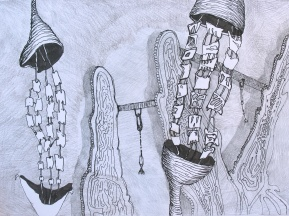 """Revealing the Filaments; graphite and ink on paper; 9""""x12"""" 