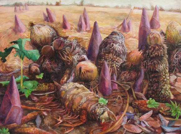 """A New Species is Ready to Dominate the Plain, acrylic on panel, 36""""x48""""   2013"""