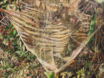 "As The Strands Await Vibration I, acrylic on canvas, 30"" x 40   2013   $800"